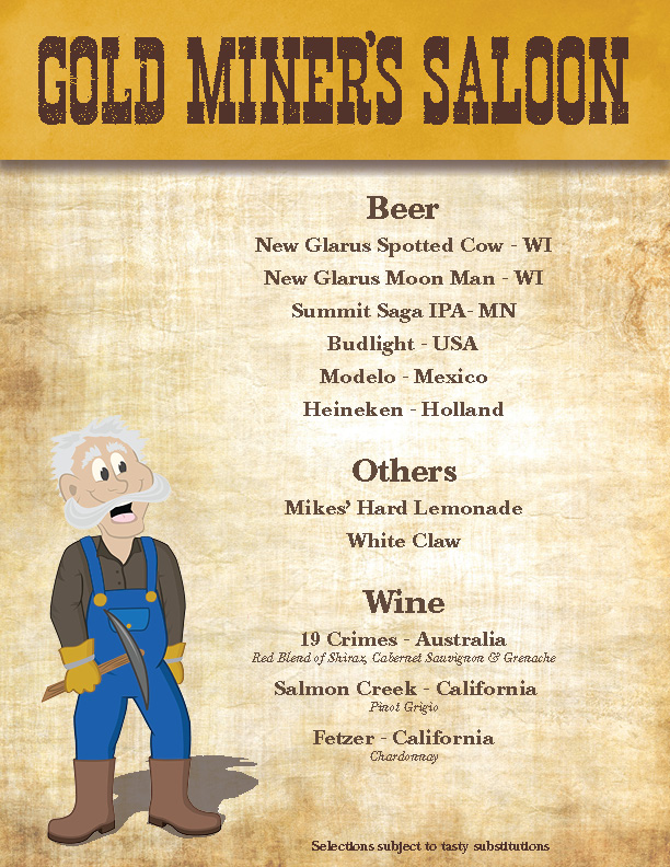 Gold Miner Saloon Beer and Wine List